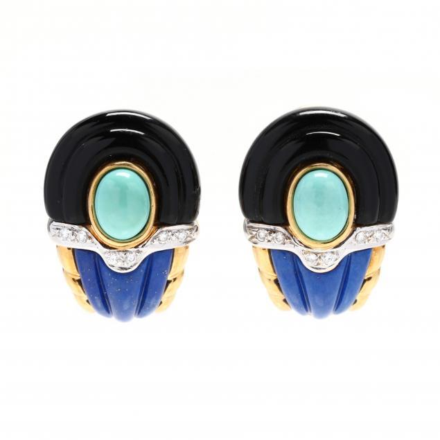 18kt-gold-and-gem-set-earrings