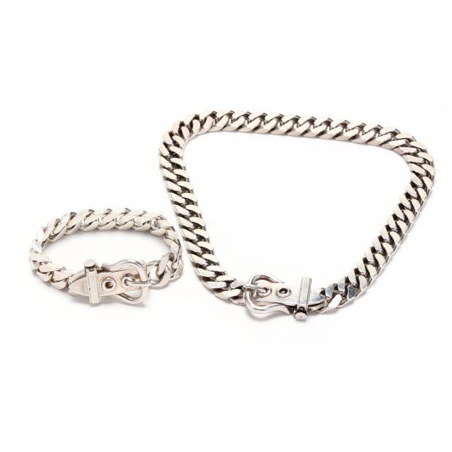 a-silver-belt-buckle-necklace-and-bracelet-set-hermes