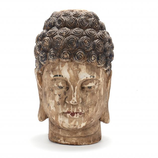 large-carved-and-painted-wood-head-of-buddha