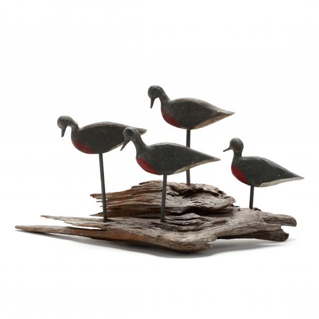 jesse-babb-beach-robins-four-decoys-mounted-on-driftwood