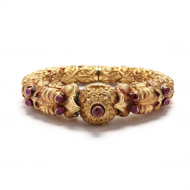 high-karat-gold-and-pink-sapphire-bracelet