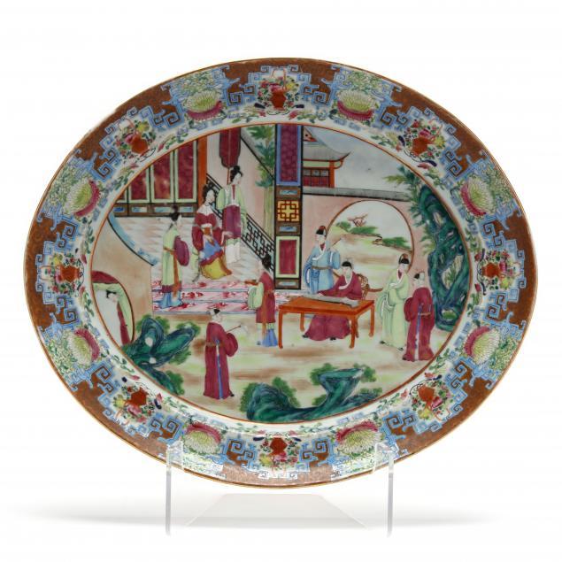 a-chinese-export-porcelain-rose-mandarin-platter-with-blue-key