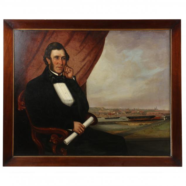 english-school-19th-century-portrait-of-john-scott-russell-surveying-a-shipyard