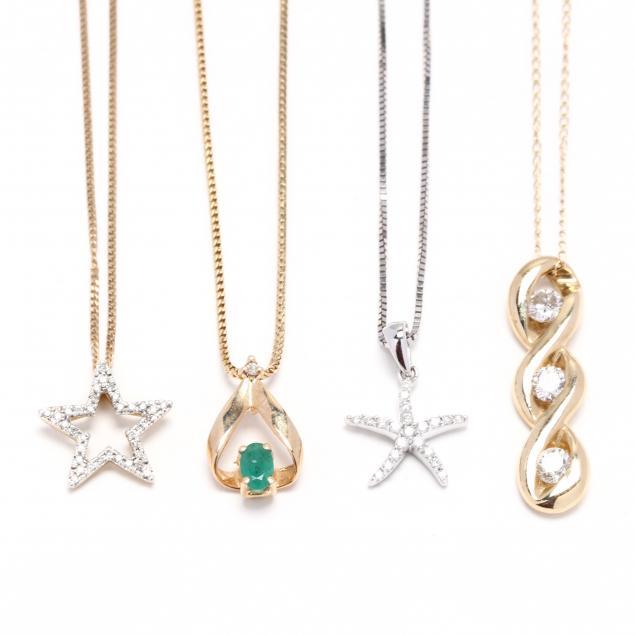 four-gem-set-pendant-necklaces