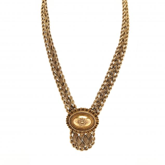 vintage-14kt-gold-necklace-with-etruscan-revival-slide