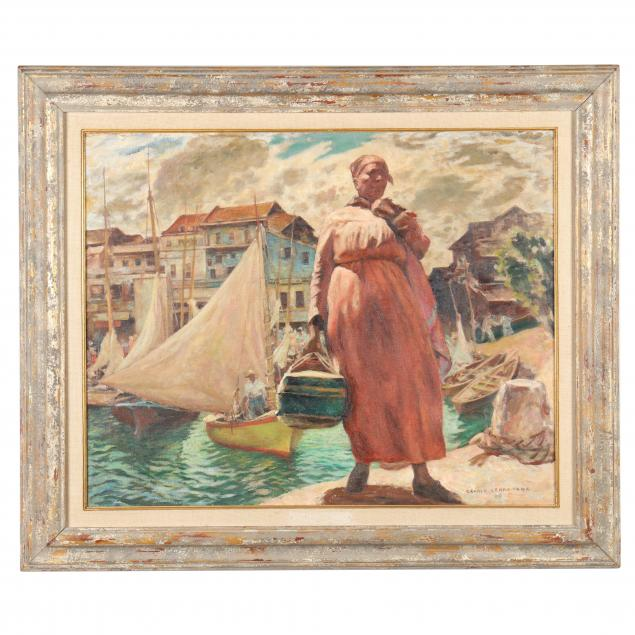 gerald-leake-english-american-1885-1975-portrait-of-woman-by-a-harbor