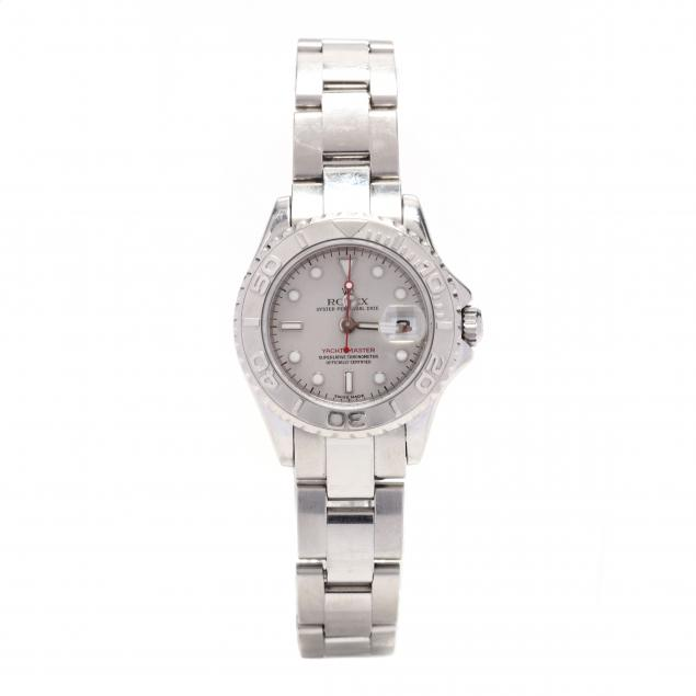 lady-s-stainless-steel-and-platinum-yacht-master-watch-rolex