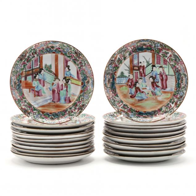 a-group-of-twenty-two-chinese-export-porcelain-rose-mandarin-plates