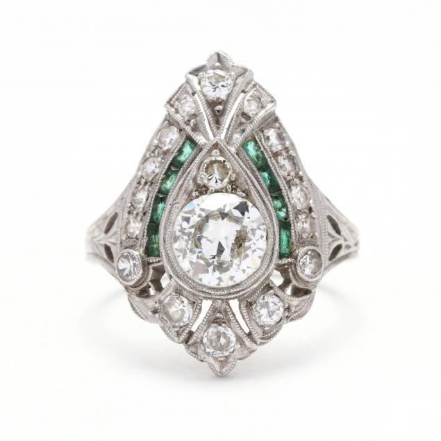antique-platinum-diamond-and-emerald-ring