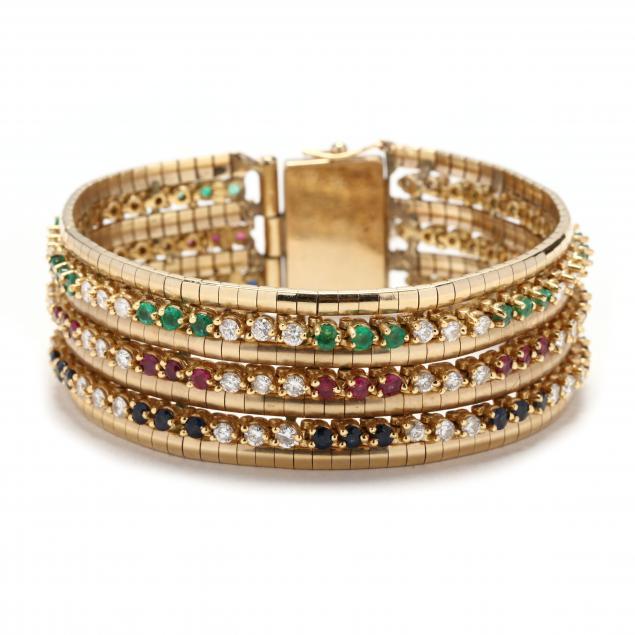 wide-14kt-gold-and-gem-set-bracelet