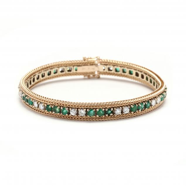 18kt-gold-emerald-and-diamond-bracelet