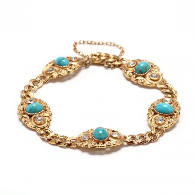 antique-gold-turquoise-and-diamond-bracelet