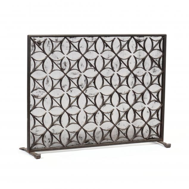 a-large-french-wrought-iron-architectural-antique-fire-screen