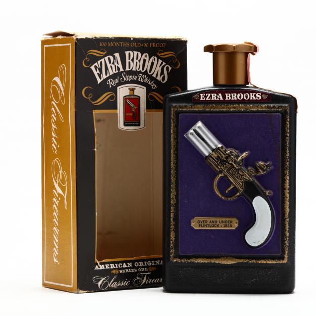 ezra-brooks-whiskey-in-over-and-under-flintlock-1815-decanter
