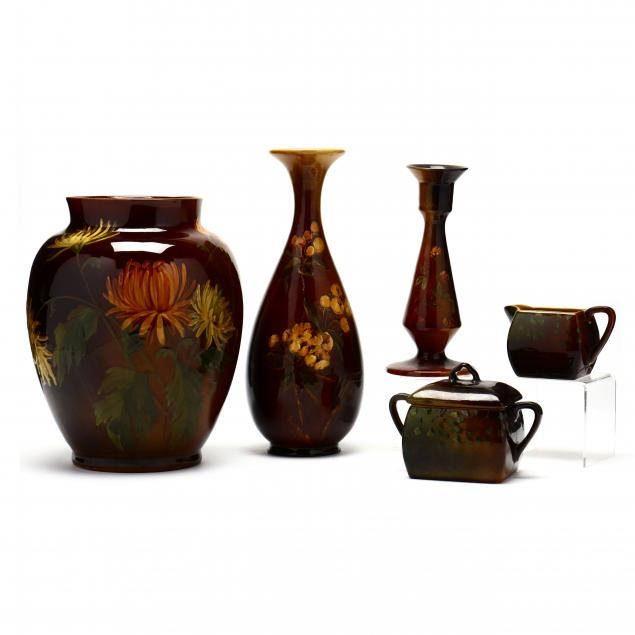 a-group-of-five-lonhuda-pottery-pieces