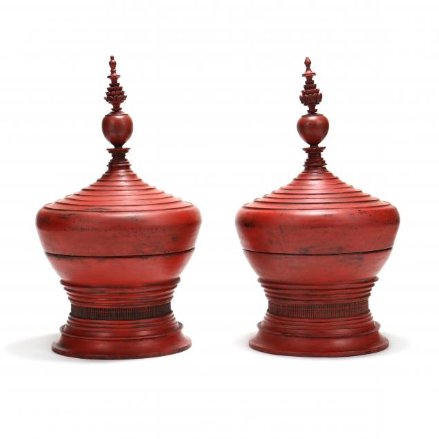 pair-of-large-burmese-lacquered-lidded-offering-urns