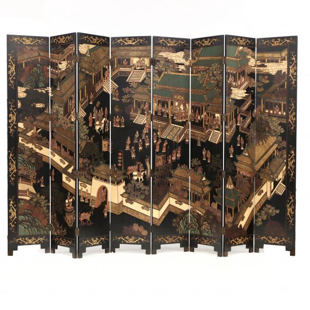 chinese-tall-eight-panel-carved-and-painted-lacquer-floor-screen