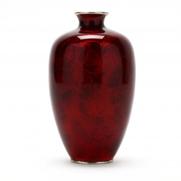 a-japanese-red-cloisonne-dragon-vase-by-hayakawa-komejiro