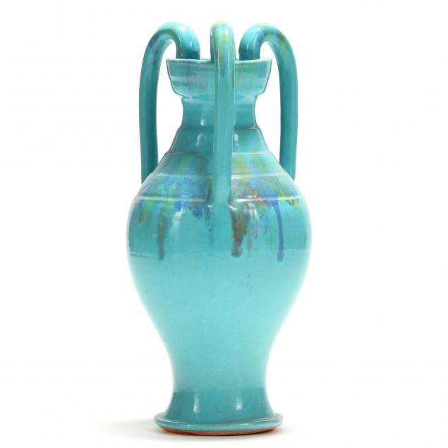 tall-three-handled-floor-vase-attributed-a-r-cole-nc