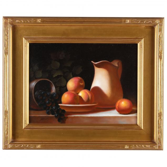 paul-abrams-american-i-pitcher-with-nectarines-bowl-with-grapes-i