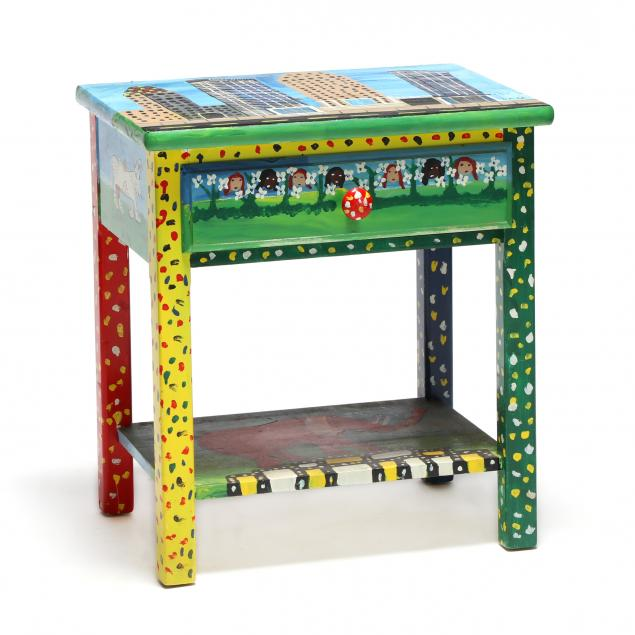 one-drawer-side-table-decorated-by-sam-the-dot-man-mcmillan-nc-1926-2018