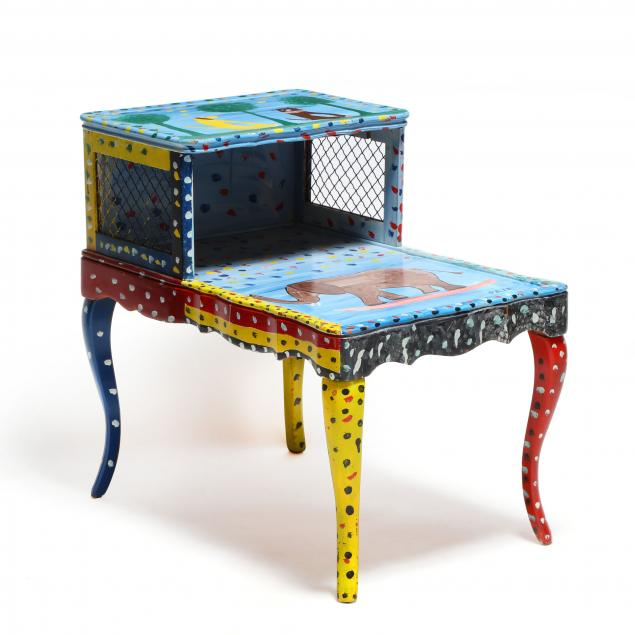 vintage-side-table-decorated-by-sam-the-dot-man-mcmillan-nc-1926-2018