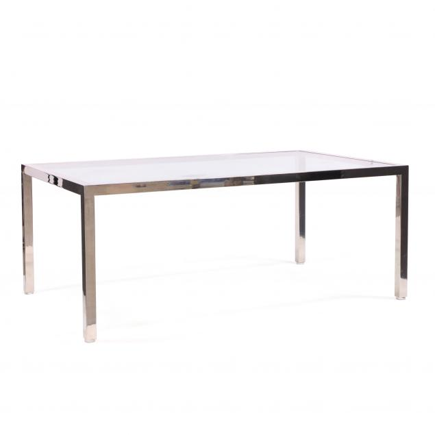 attributed-milo-baughman-american-1923-2003-chrome-and-glass-parsons-dining-table
