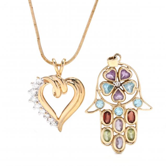 two-gold-and-gem-set-pendants-and-a-gold-chain-necklace