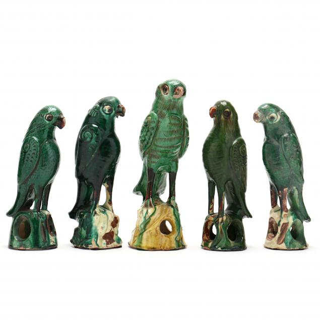 a-group-of-chinese-green-glazed-parrots