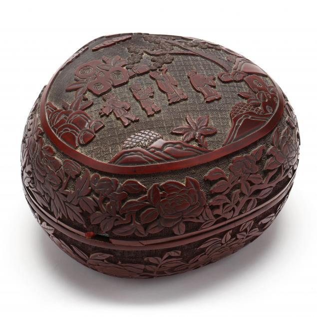 a-chinese-peach-shaped-carved-cinnabar-lacquer-box-and-cover