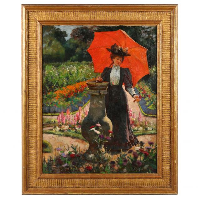 ella-m-bedford-british-fl-1882-1908-young-woman-with-a-red-parasol
