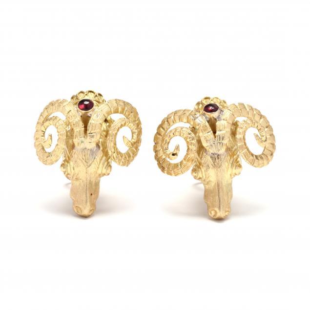 gold-and-gem-set-ram-s-head-motif-earrings