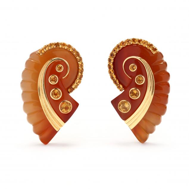 pair-of-18kt-gold-carnelian-and-citrine-brooches-seaman-schepps-and-related-book