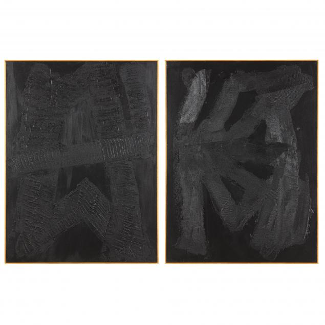ron-goins-nc-b-1954-a-pair-of-black-on-black-abstract-paintings