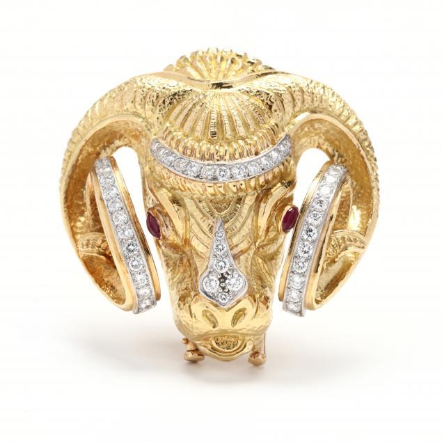 18kt-gold-platinum-and-gem-set-ram-motif-brooch-pendant-david-webb