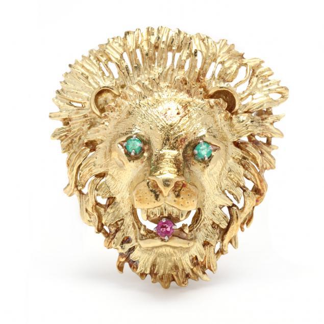gold-and-gem-set-lion-motif-brooch