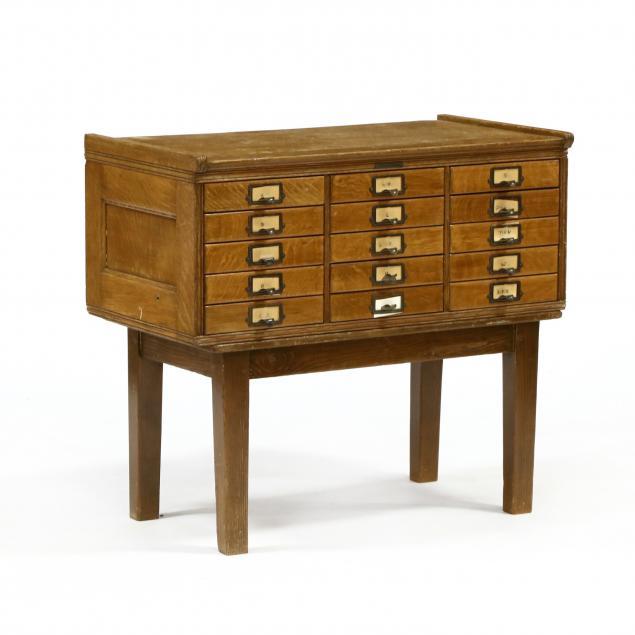 vintage-oak-file-cabinet-on-stand