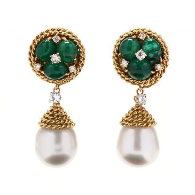 gold-emerald-pearl-and-diamond-day-night-earrings