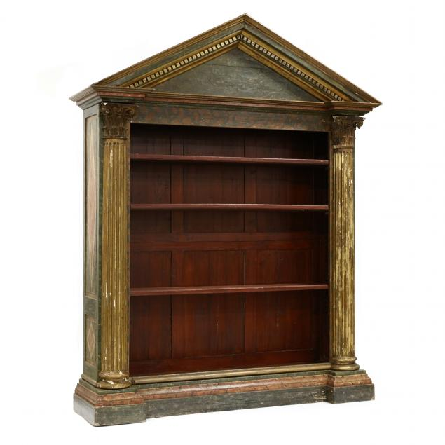 a-large-classical-style-paint-decorated-and-architectural-bookshelf