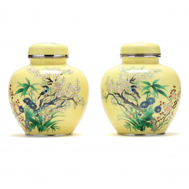 a-pair-of-japanese-yellow-ground-cloisonne-jars-with-covers