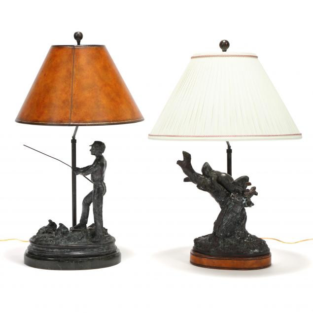 two-maitland-smith-bronze-golf-themed-table-lamps