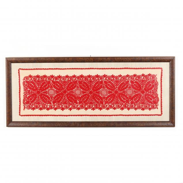 framed-red-crewelwork-textile