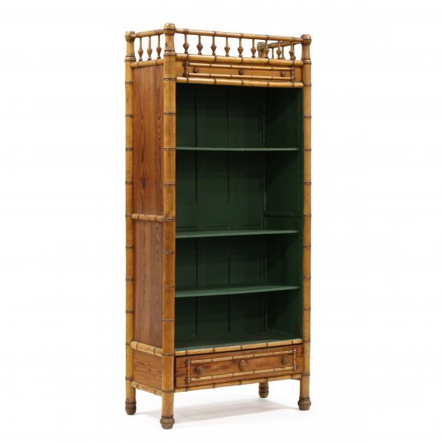 antique-english-faux-bamboo-open-bookshelf