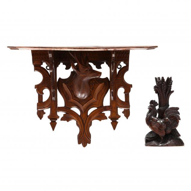 black-forest-carved-rooster-and-bracket-shelf