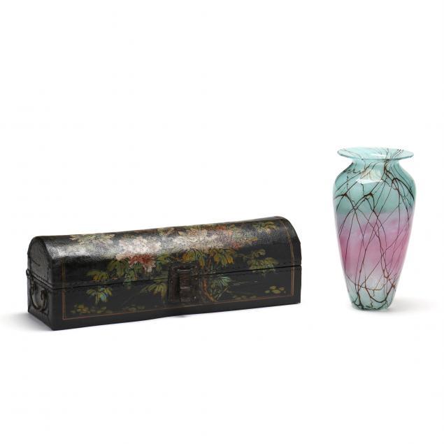 art-glass-vase-and-chinese-opium-box