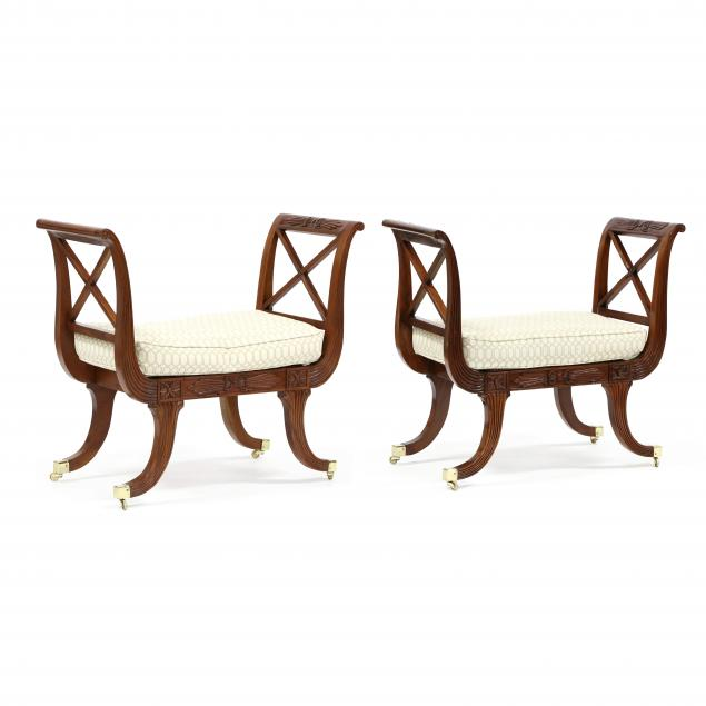 pair-of-regency-style-carved-mahogany-benches
