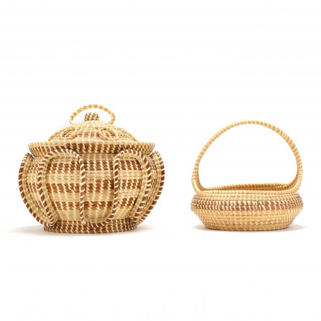 two-charleston-sweetgrass-baskets-attributed-to-mary-jackson