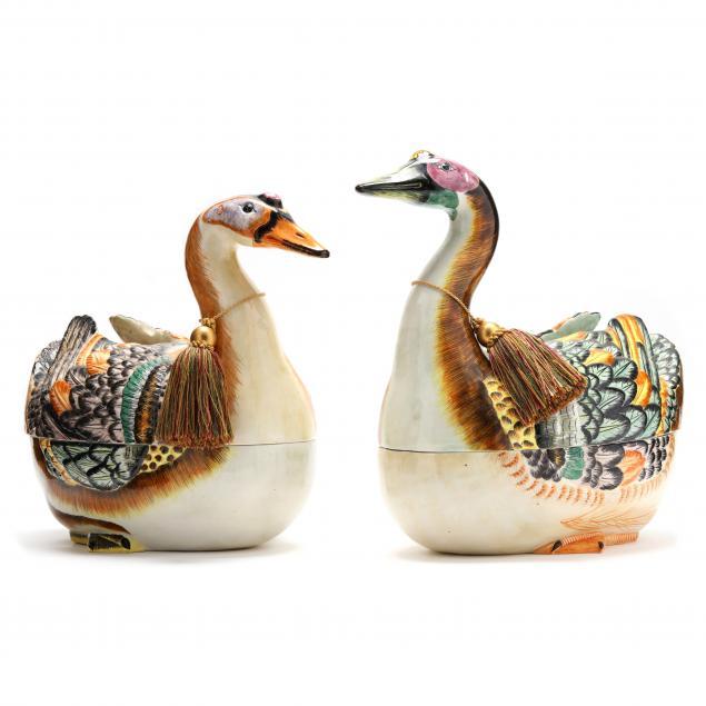 two-similar-porcelain-duck-tureens
