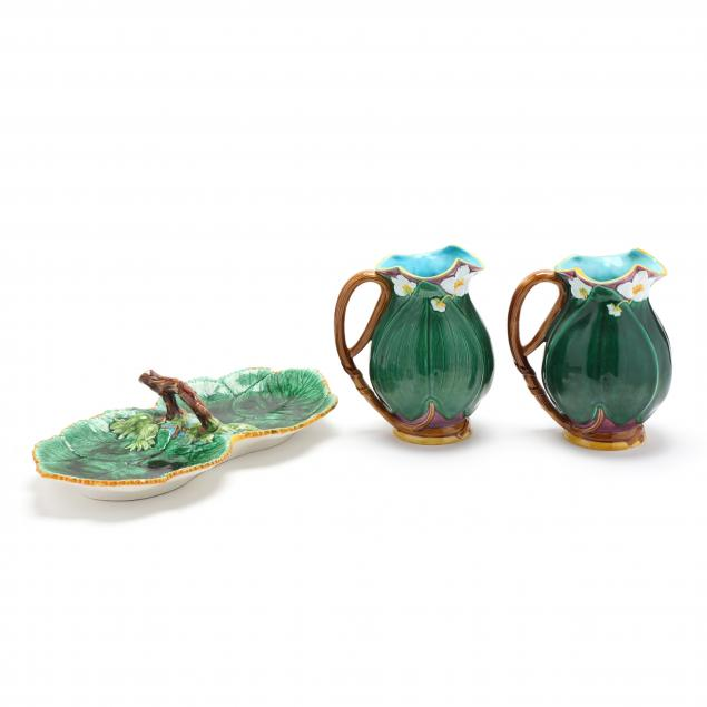 three-pieces-mottahedeh-water-lily-majolica