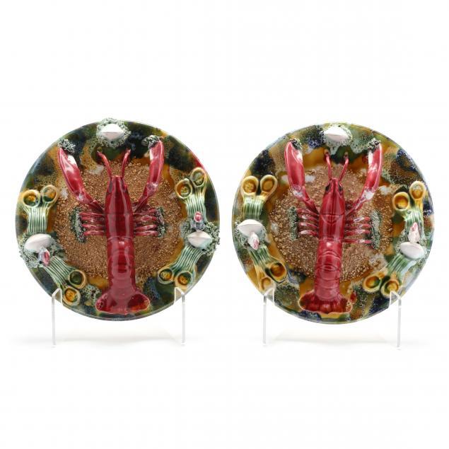 pair-of-majolica-palissy-lobster-plates